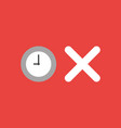icon concept of clock with x mark on red vector image vector image
