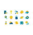 isolated cryptocurrency icon set design vector image vector image