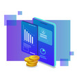 isometric design chart and statistic business vector image vector image