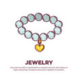Jewelry pearl necklace with golden heart pendant
