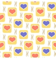 pattern with hearts in squares vector image vector image