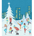 people skaiting on winter ice rink vector image vector image