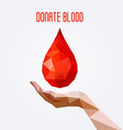 polygonal blood drop and hand poster vector image