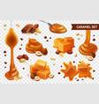realistic caramel chocolate nut icon set vector image