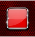 red button with chrome frame square glass shiny vector image vector image
