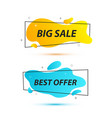 sale banners with trendy shapes offer tag vector image vector image
