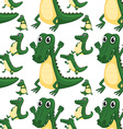 Seamless green aligators smiling vector image