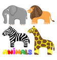set cute african animals vector image vector image