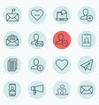 set of 16 social network icons includes bullhorn vector image vector image