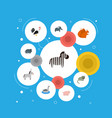 set of animal icons flat style symbols with cat vector image