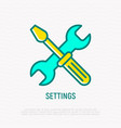 settings line icon wrench and screwdriver crossed vector image