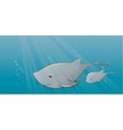 shark and calf in sea vector image vector image