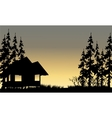 silhouette of the old village with hut vector image