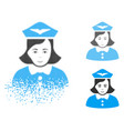 sparkle pixel halftone airline stewardess icon vector image vector image