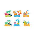 summer travel logo template set paradise beach vector image