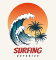surfer big wave retro poster vector image