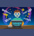 video game addiction flat the young vector image