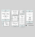 wedding invite save the date rsvp card set vector image vector image