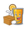 with box orange juice character cartoon vector image vector image