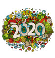 2020 hand drawn doodles new year vector image