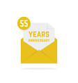 55 years anniversary missive in golden envelope vector image