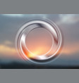 abstract smooth circle ring on sunset background vector image