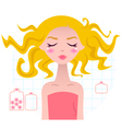 Beautiful Spa blond girl in pink towel vector image