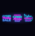 big neon signs for cyber monday neon vector image