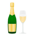 bottle and glass of sparkling wine or champagne vector image