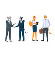 businesspeople in animal masks and expensive suits