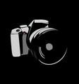 camera logo white on a black background vector image