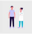cartoon female doctor looking at male patient vector image