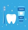 cartoon set for dental hygiene isolated on blue vector image