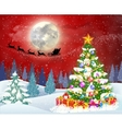 christmas tree on the background of night sky vector image