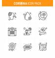 coronavirus prevention set icons 9 line icon vector image vector image