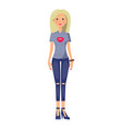 cute blonde girl in stylish casual summer clothes vector image