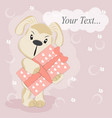 cute cartoon happy birthday dog with gift vector image vector image