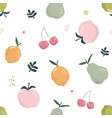 cute seamless pattern with fruits summer hand vector image vector image