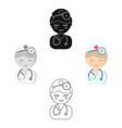 doctor cartoonblack icon for web vector image