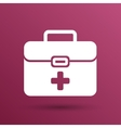 First aid icon kit medical box cross symbol vector image vector image
