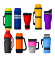 flat set of colorful thermos and thermo vector image vector image