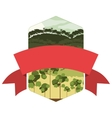 Frame mountain and valley with central ribbon vector image