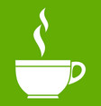 glass cup of tea icon green vector image vector image