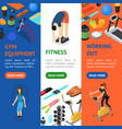 gym exercise equipment banner vecrtical set vector image vector image
