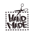 hand made label tag scissors stitch vector image vector image