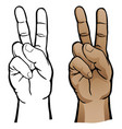 hand peace sign vector image vector image