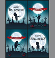 happy halloween night set of scary posters vector image vector image