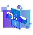 isometric design upload data storage to cloud vector image vector image