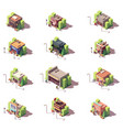 isometric shops icon set vector image vector image