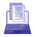 laptop with documents icon vector image vector image